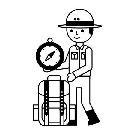 boy character safari backpack and compass vector illustration