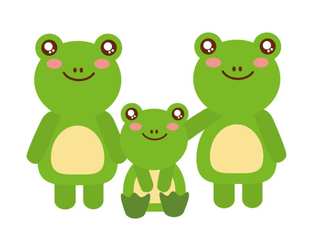 cute family frogs animals cartoon vector illustration Banque d'images - 112728873