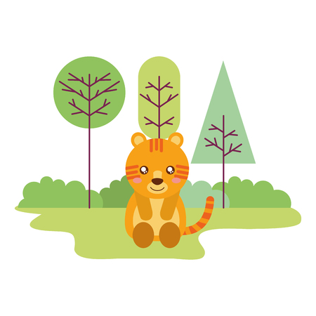 cute tiger sitting in the outdoors vector illustration Illustration