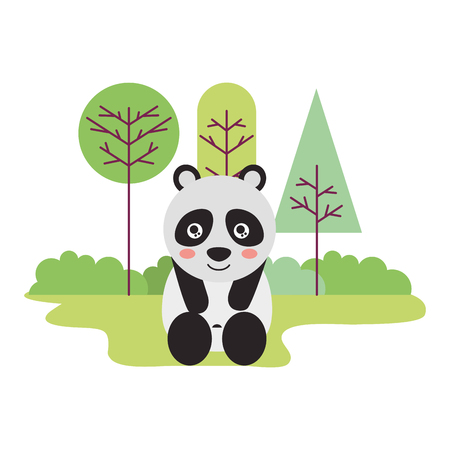 cute panda sitting in the outdoors vector illustration 向量圖像