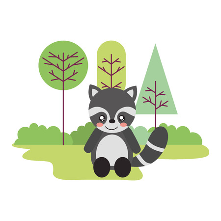 cute raccoon sitting in the outdoors vector illustration