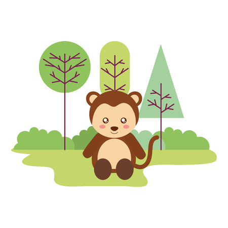 cute monkey sitting in the outdoors vector illustration Illustration