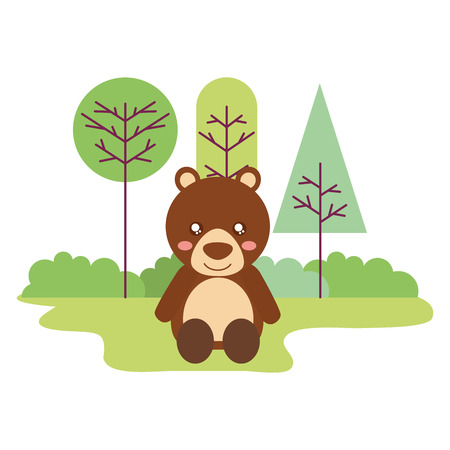 cute bear sitting in the outdoors vector illustration