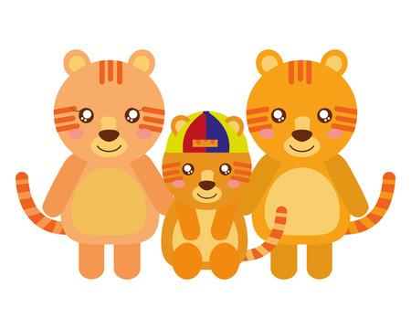 cute family tigers animals cartoon vector illustration