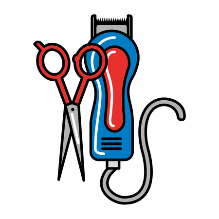 barber shop electric shaver and scissors vector illustration