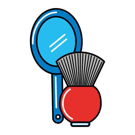 barber shop mirror and brush vector illustration