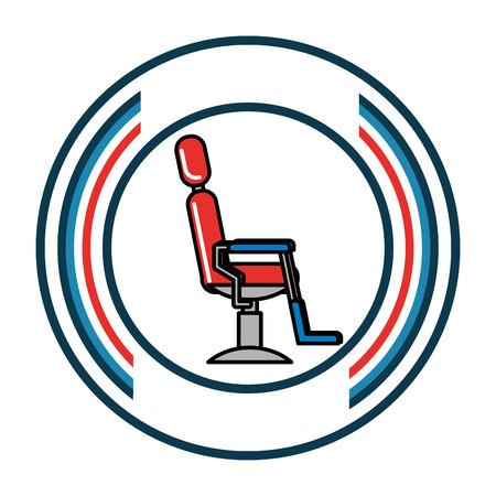 barber shop chair comfort furniture label vector illustration