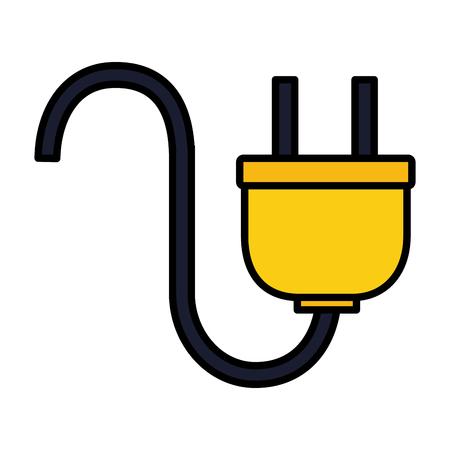 Branchez le câble sur l'illustration vectorielle fond blanc Vecteurs
