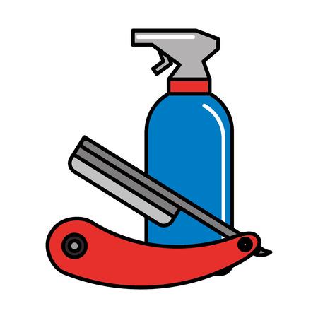 barber shop razor and spray lotion vector illustration Illustration