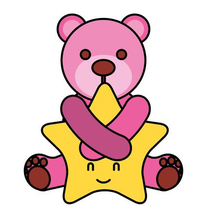 cute pink bear hugging cartoon star vector illustration