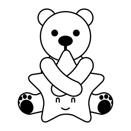 cute bear hugging cartoon star vector illustration Ilustração