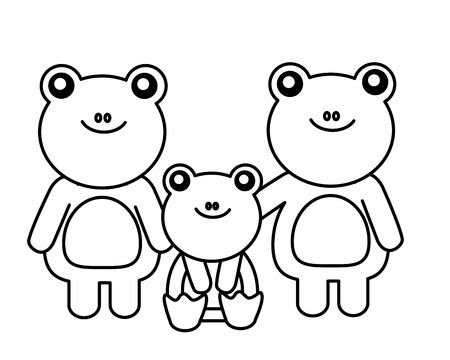 cute family frogs animals cartoon vector illustration