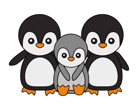 cute family penguins animals cartoon vector illustration 向量圖像