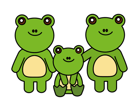 cute family frogs animals cartoon vector illustration Banque d'images - 127317627