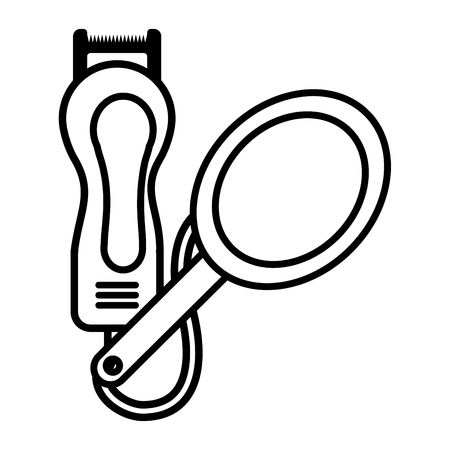 barber shop electric shaver and mirror vector illustration Standard-Bild - 112728956