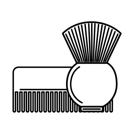 barber shop comb and brush vector illustration