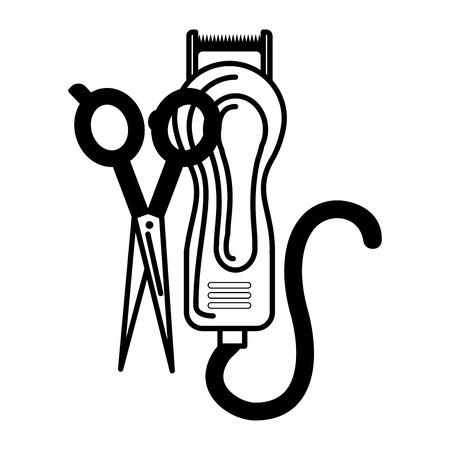 barber shop electric shaver and scissors vector illustration