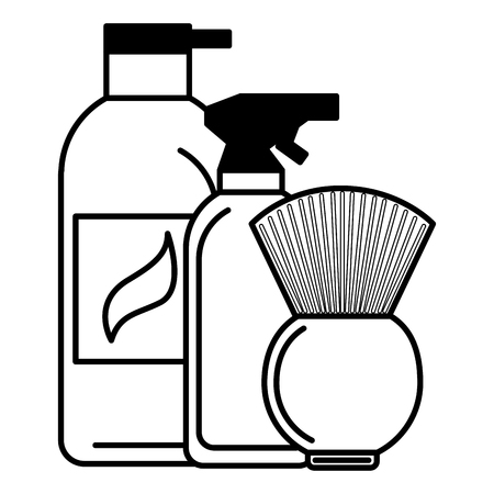 barber shop spray brush and cream vector illustration