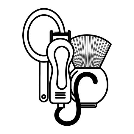 barber shop electric shaver mirror brush vector illustration