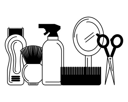 barber shop electric shaver scissors mirror brush vector illustration Иллюстрация