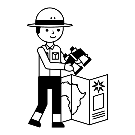 boy character safari with map and binoculars vector illustration