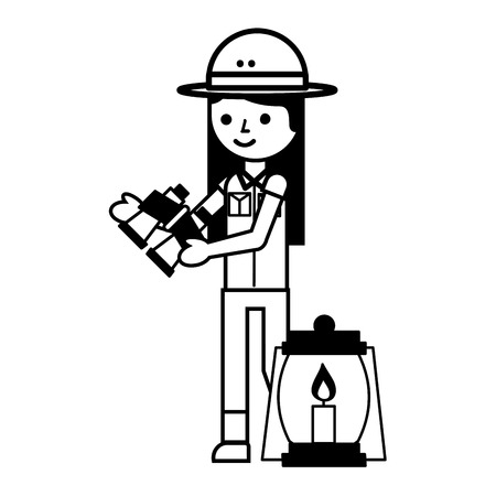 girl character safari with lantern and binoculars vector illustration Illusztráció