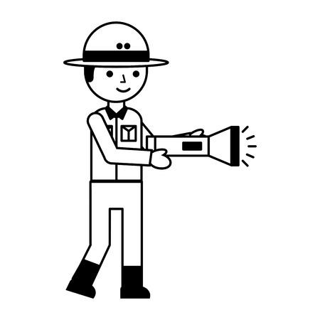 boy character safari with flashlight vector illustration