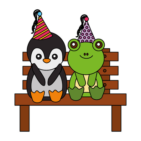 cute penguin and frog on bench happy birthday vector illustration