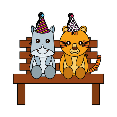 cute hippo and tiger on bench happy birthday vector illustration Ilustracja
