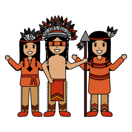 native american character warriors with weapon vector illustration