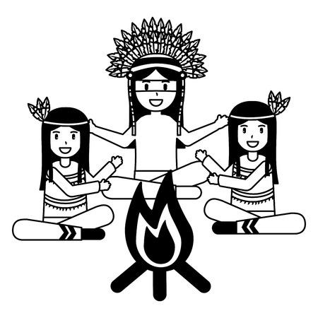 native american character group bonfire vector illustration