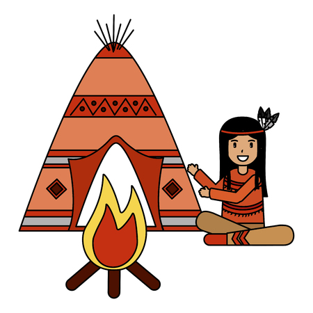 native american character teepee and bonfire vector illustration