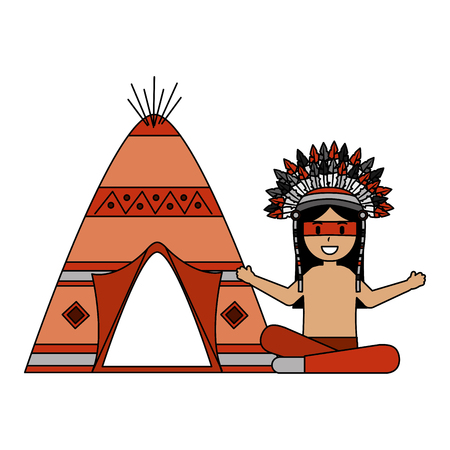 native american character with teepee vector illustration Stock Vector - 127317671