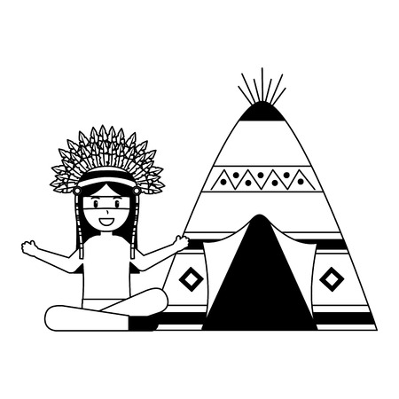 native american character with teepee vector illustration Stock Vector - 127317675