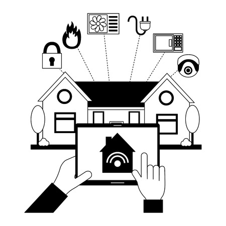 hands with mobile controller smart home vector illustration Stock Illustratie