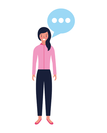 woman standing with speech bubble vector illustration