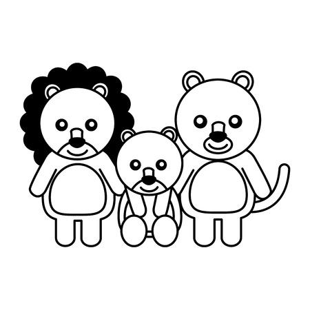 cute family lions animals cartoon vector illustration