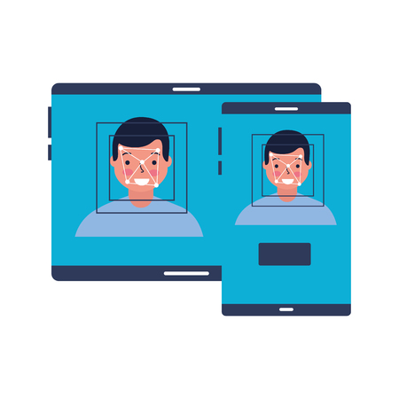 man face scan biometric digital technology vector illustration Standard-Bild - 127317703