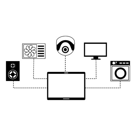 smart home devices technology digital vector illustration Ilustrace
