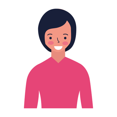 portrait woman character on white background vector illustration