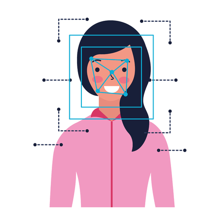 woman face scan process gadget vector illustration