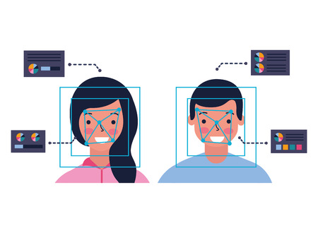 man and woman biometric process technology vector illustration Foto de archivo - 112731431