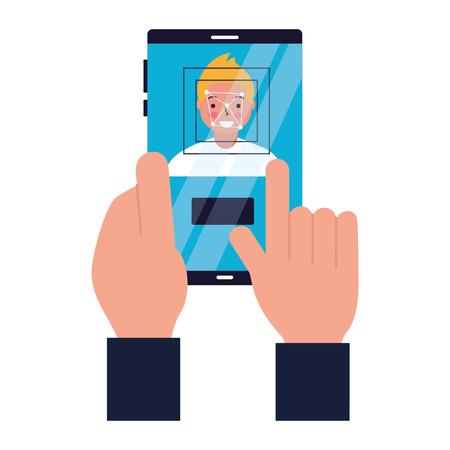 hand with mobile face scan man vector illustration Foto de archivo - 112731434