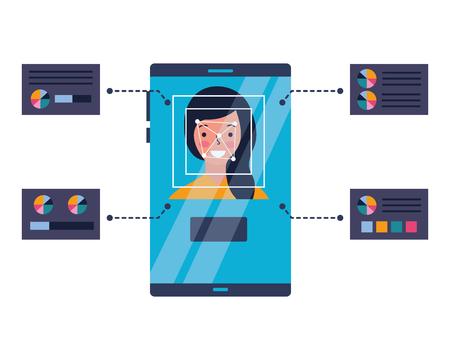 woman face scan process gadget vector illustration Foto de archivo - 127317731