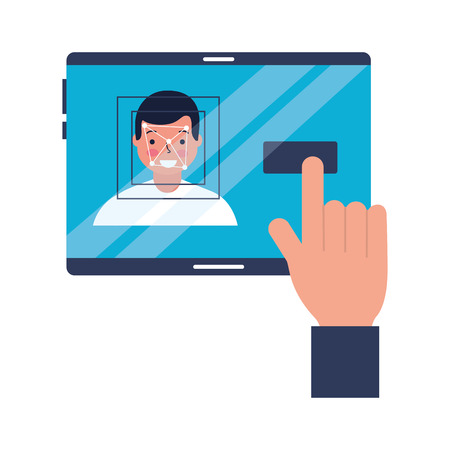 hand with mobile face scan man vector illustration