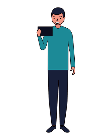 man using cellphone device white background vector illustration Illustration