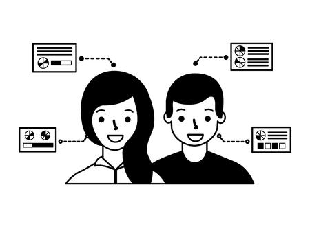 man and woman biometric process technology vector illustration Foto de archivo - 127317762