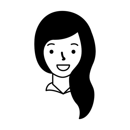 smiling woman face cartoon white background vector illustration 向量圖像
