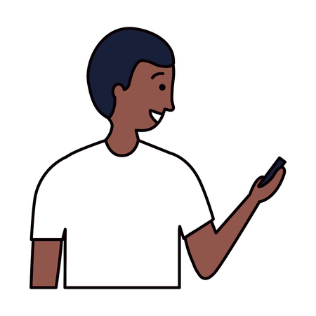 man using cellphone device white background vector illustration 向量圖像