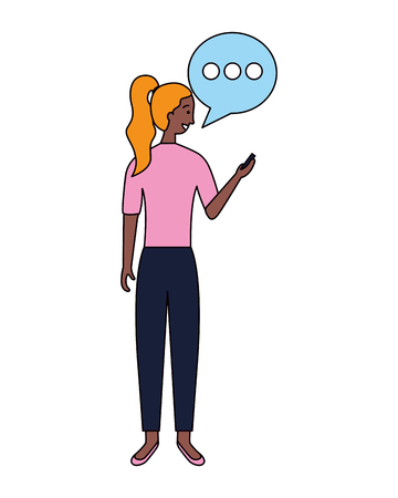 woman using mobile speech bubble vector illustration